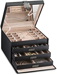 Extra Large Jewelry Box Organizer - 42 Slot Classic Holder w Modern Closure, Drawer, Big Mirror & 4 Trays for Women - Storage Case for Earring Ring Necklace Bracelet Watch -PU Leather- Black
