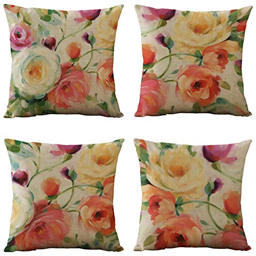 WOMHOPE Set of 4 Vintage Floral Decorative Throw Pillow Covers Pillow Cases Cushion Cases Burlap Toss Throw Pillow Covers 18 x 18 Inch Feminine Spring for Living Room,Couch and Bed (Watercolor)