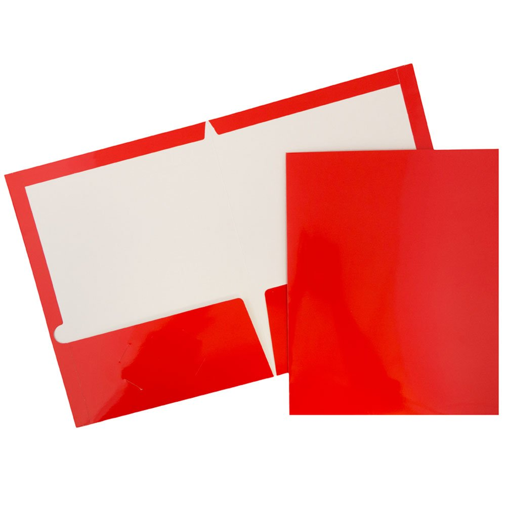 JAM Paper Laminated Glossy 2 Pocket School Folders - Red - 100/pack