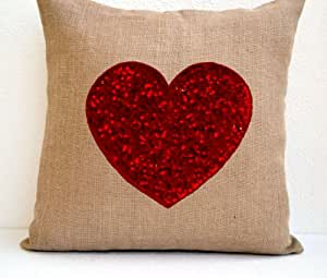 Amore Beaute Handmade Burlap Heart Pillow Cover with Red Heart Exquisitely Embroidered with Sequins- Decorative Pillows- Cushion Covers- Handmade Hand Embroidered Decorative Pillows - Throw Pillow 16x16- Red Heart Pillows- Accent Pillows