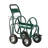 6ft leader hose - Water Hose Cart Reel 300 FT Outdoor Garden Heavy Duty Solid Steel Foam Padded Handle Easy Rolling 6 Ft Leader Hose-MegaTrade Prime