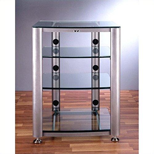 VTI HGR404 4 Shelf Glass Audio Cabinet/Rack - Black / Clear (4 Glass Shelf Audio Rack)