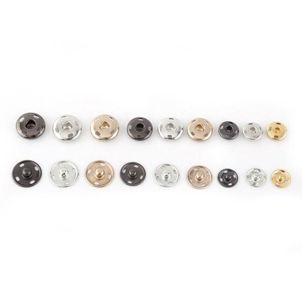 15/mm negro ultnice 50/Juego botones met/álicos con cierre a presi/ón autom/áticos para vestidos de costura