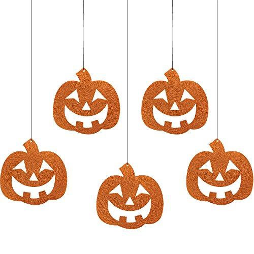 Creative Converting 5 Count Pumpkins Hanging Glitter Cutouts, (Pumpkin Glitter Cutouts)