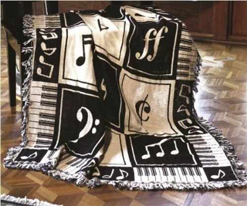 Manual Keynote Decorative Woven Throw Cozy Cotton Blanket for Music Lover