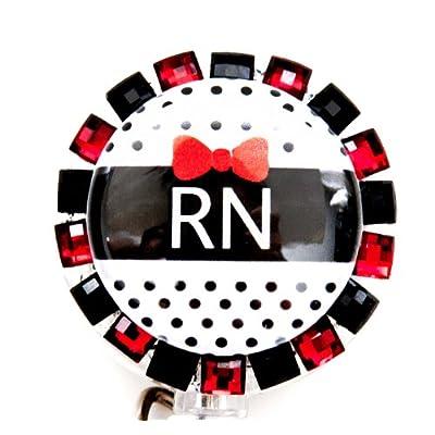 BLACK BOW RN BLING BADGE REEL, RETRACTABLE RHINESTONE BADGE REEL big discount