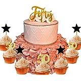 21 PCS JeVenis 50th Birthday Cake Topper Hello 50 Cake Topper 50th Birthday Wedding Anniversary Party Sign Decorations 50th Birthday Party Decoration Ideas