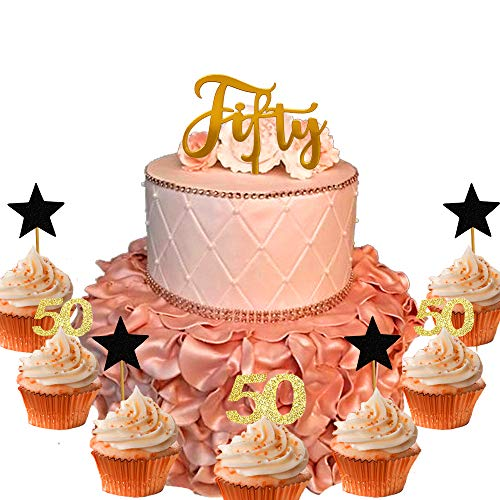 21 PCS JeVenis 50th Birthday Cake Topper Hello 50 Cake Topper 50th Birthday Wedding Anniversary Party Sign Decorations 50th Birthday Party Decoration Ideas ()
