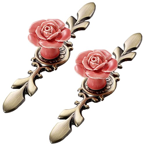 Choubao 2pcs Flower Rose Door Ceramic Knobs Kitchen Pull Handle Knob Modern Style Home Cupboard Pulls Drawer Knobs and Handles