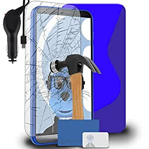 iTALKonline LG G3 D850 Blue TPU S Line Wave Hybrid Gel Skin Case Protective Jelly Cover with Tempered Glass Screen Protector and 1000 mAh Coiled In Car Charger LED Indicator and Overload Protection