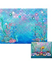 7x5ft Mermaid Background Baby Shower Birthday Photography Backdrop Under Water Coral Shell Scales Blue Photo Booth W-597