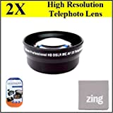 72mm 2X Telephoto Lens for panasonic AG-AC130 AG-AC160 AG-HMC150PJ AG-DVX100B professional CAMCORED + MicroFiber Cleaning Cloth + LCD Screen Protectors