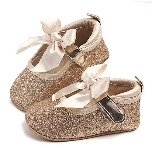 ss Shoes Baby Soft Low Soft Toddler Shoes, Non-Slip Breathable Baby Bed Shoes, Toddler Girls Shoes, Size: 12-13, Cotton Fabric (Gold, 13) ()