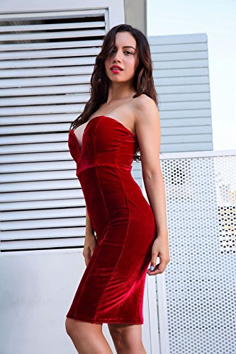 Bodycon Women V Dresses Velvet Neck Bandeau Tube Midi Dress Red wBqYrwR