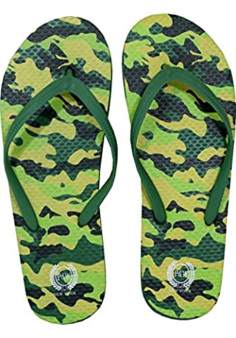 Men's Camo Military Collection Flip Flop Thong Sandals Camouflage Flip Flops ARMY NAVY MARINE AIRFORCE (X-Large (12), (Green Flip Flops)