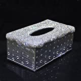 Bling Bling Sparking Luxury Crystal Handmade Glitter Home Decorative Tissue Holder Box(Silver PU-Silver Bling)