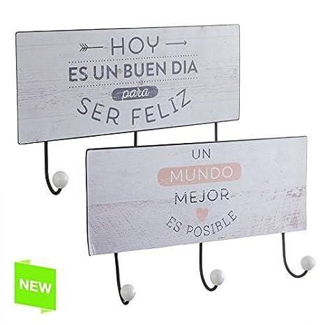 DCASA Perchero Triple diseño Frase Original Medida: 37X0,1X15 CM (Un Mundo Mejor es Posible)