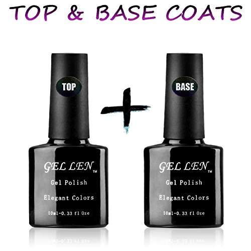 Gellen UV/LED Soak Off Gel Nail Polish Top Coat and Base Coa