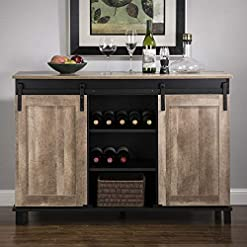 """Home Bar Cabinetry Glitzhome Wood Rustic Wine Cabinet 3-Sections Bar Cabinet with Wine Storage 47.2""""L Sideboard Table with Sliding Doors… home bar cabinetry"""