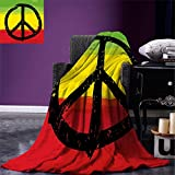 smallbeefly Rasta Weave Pattern Extra Long Blanket Grunge Style Watercolor Design African Flag Colors Hippie Peace Sign Custom Design Cozy Flannel Blanket Black Green Yellow and Red Review