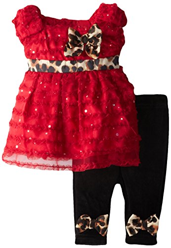 Youngland Baby-Girls Newborn Cap Sleeve Mesh Dress and Legging Set, Red/Black/Animal Print, 6-9 ()