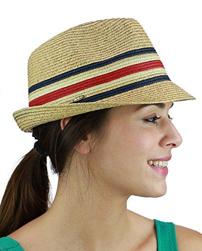 C.C Unisex Spring Summer Multicolored Metallic Gold Weaved Trilby Fedora Hat, (Metallic Fedora Hat)