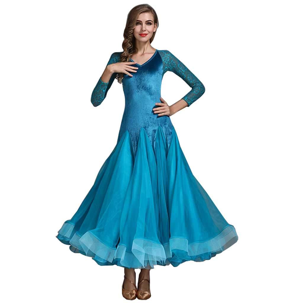 モダンダンススカートビッグスイングスカートアラミドドレスボールルームダンスワルツ B07H9XK6FS XL|Peacock Blue Peacock Blue XL