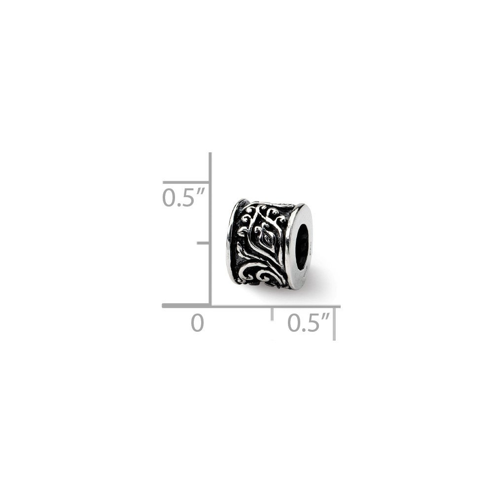 Sterling Silver Antique finish Reflections SimStars Bali Bead Charm