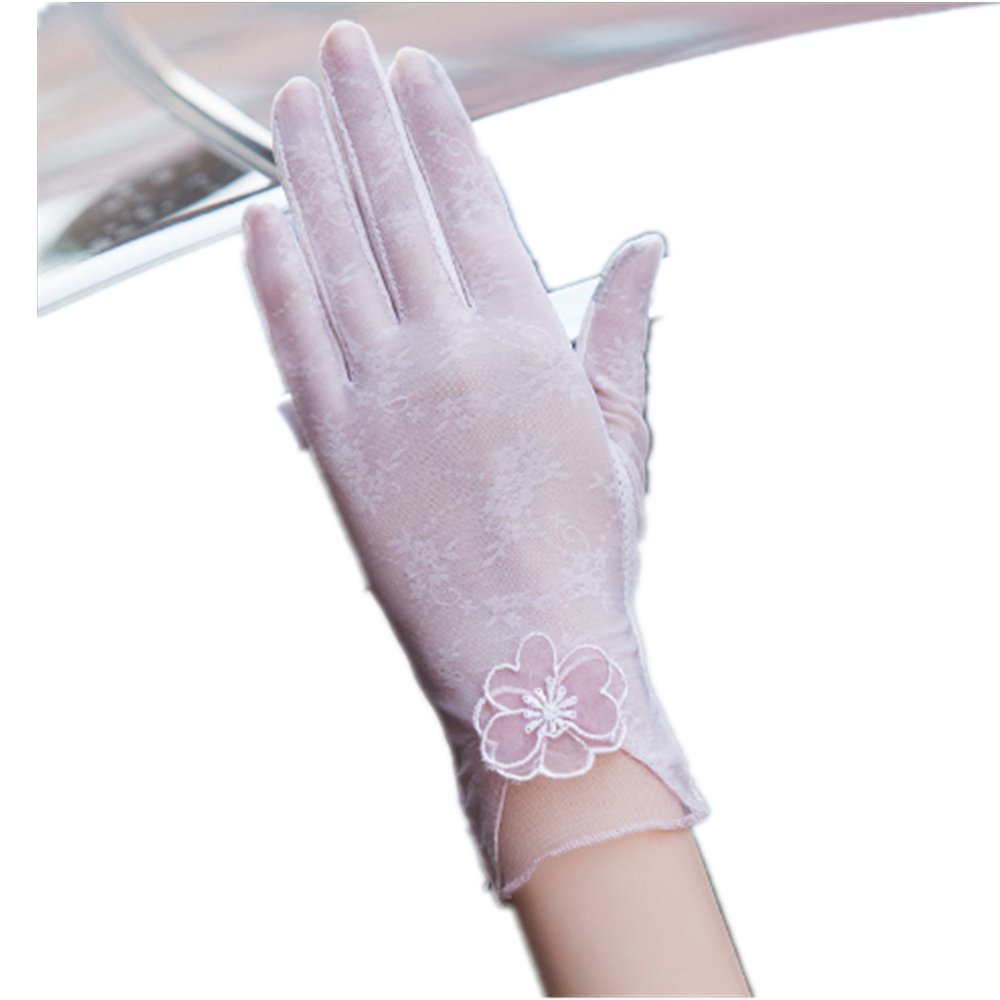 ASAKUSAIREN Women's 2018 Sun UV Protection Driving Anti-skid Gloves Elegant Lace Wedding Gloves (Pink)