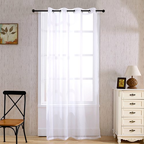 Decorative Delicate Window (SINOGEM Home Decorations Delicate Sheer Curtains Window Treatment Kitchen Polyester Panels Drape Home Living Room Bathroom Decorative Wide Voile Curtain 63 inch (White, 53