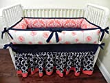 Nursery Bedding, Baby Crib Bedding Set Halle, Girl Baby Bedding, Coral and Navy Baby Bedding - Choose Your Pieces