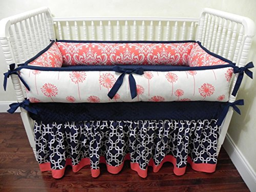 Nursery Bedding, Baby Crib Bedding Set Halle, Girl Baby Bedding, Coral and Navy Baby Bedding - Choose Your Pieces by Just Baby Designs Inc