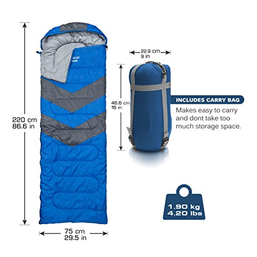 Sleeping Bag – Envelope Lightweight Portable, Waterproof, Comfort With Compression Sack - Great For 4 Season Traveling, Camping, Hiking, Outdoor Activities & Boys. (SINGLE) By Abco Tech