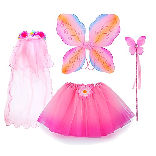 fedio 4Pcs Girls Princess Fairy Costume Set with Wings, Tutu, Wand and Floral Wreath Veil for Children Ages 3-6 (Multicolor-Pink)