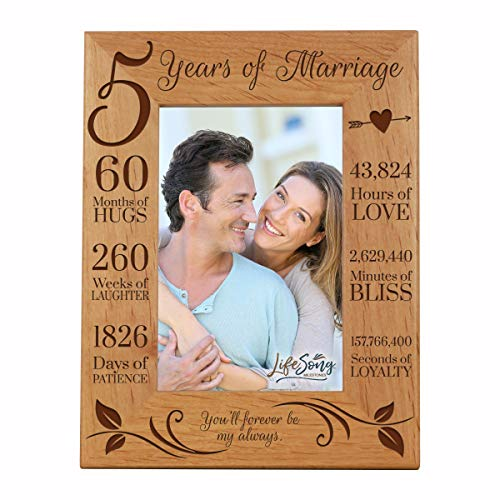LifeSong Milestones 5th Anniversary Picture Frame 5 Year of Marriage - Five Year Wedding Keepsake Gift for Parents Husband Wife him her - You'll Forever Be My Always (7.5x9.5) (Best Gift For My Parents Anniversary)