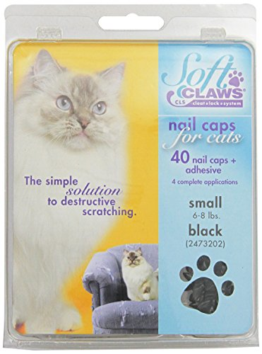 Feline Soft Claws Cat Nail Caps Take-Home Kit, Small, Black