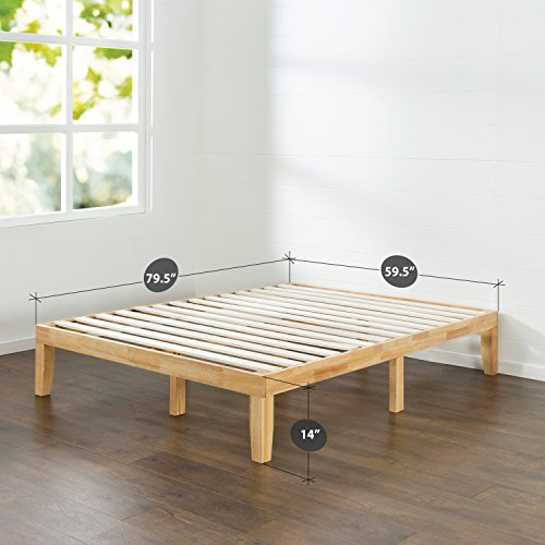Zinus 14 Inch Wood Platform Bed / No Boxspring Needed / Wood Slat Support / Natural Finish, Queen