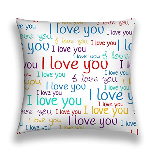 wuhandeshanbao Throw Pillow Cover Pillowcase i Love You Font Valentine s Day Background Multicolored Letters Phrases White Wallpaper Modern Sofa Home Decorative Cushion Case -