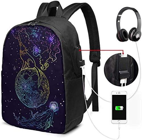 RROOT Root Unisex Rucksack mit USB-Ladeanschluss, Heulender Wolf auf dem Mond, klassisch, modisch