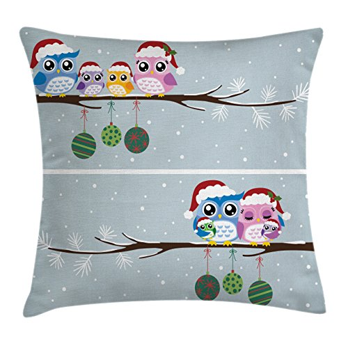 Ambesonne Christmas Throw Pillow Cushion Cover, Owl Family on Tree Branch Celebration Holly Jolly Season New Year Winter Night, Decorative Square Accent Pillow Case, 20 X 20 Inches, Multicolor ()