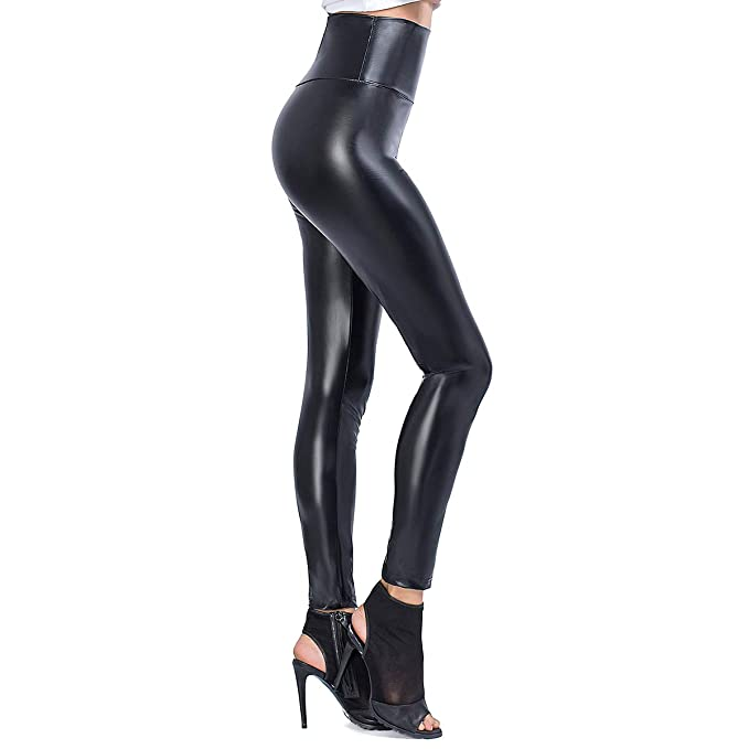 282f02cd89ed1 DressFree JTANIB Womens Faux Leather Leggings Pants, Sexy High Waisted  Stretchy Push Up Tights Black