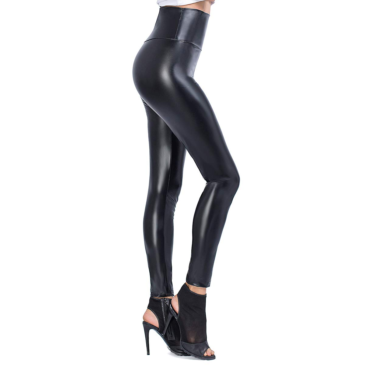 JTANIB Womens Faux Leather Leggings Pants, Sexy High Waisted Stretchy Shaping Hip Push Up Tights Black L