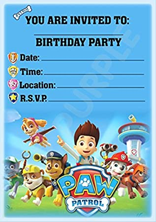 Paw Patrol Party Invites