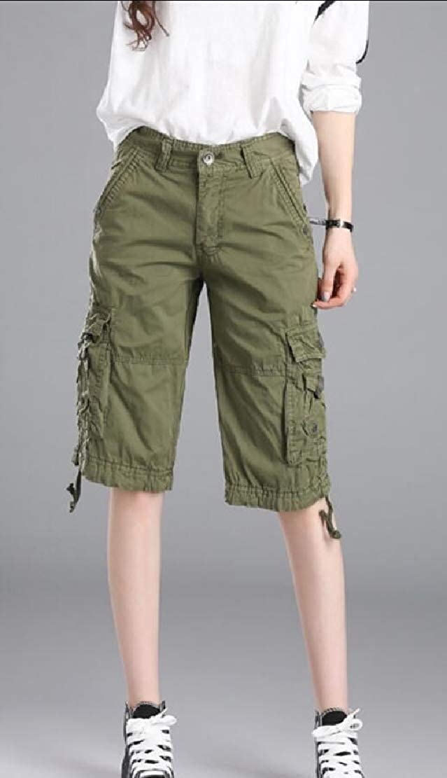 Alion Women Fashion Casual Fit Twill Bermuda Cargo Shorts Multi Pocket Straight Shorts