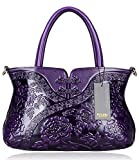 PIJUSHI Designer Floral Handbag for Women Top Handle Satchel Bags Cheongsam Shoudler Bag (22332 Violet)