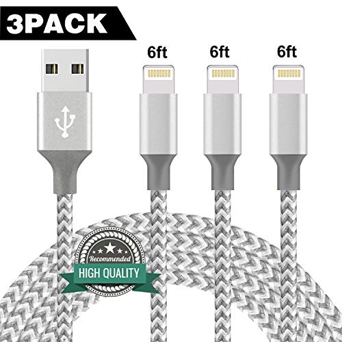 Youer Phone Cable 3Pack 6FT Nylon Braided USB Charging & Syncing Cord Compatible iPhone X iPhone 8 8 Plus 7 7 Plus 6s 6s Plus 6 6 Plus iPad iPod Nano - Grey White