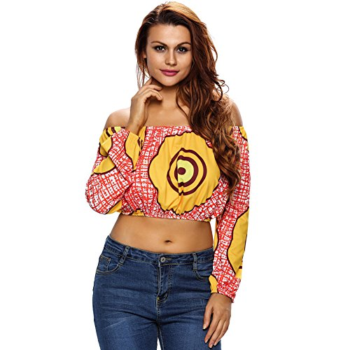 Price comparison product image BENNINGCO Womens Print Off Shoulder Long Sleeve Crop Top(Red, L)
