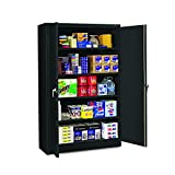 Tennsco J1878SUBK Assembled Jumbo Steel Storage Cabinet, 48''w x 18''d x 78''h, Black