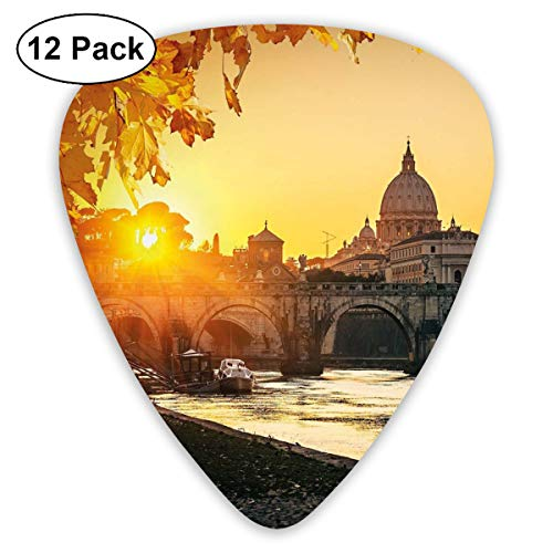 (Celluloid Guitar Picks - 12 Pack,Abstract Art Colorful Designs,Sunset At Tiber River St Peter Rome City Italy Basilica Touristic Ancient,For Bass Electric & Acoustic Guitars.)
