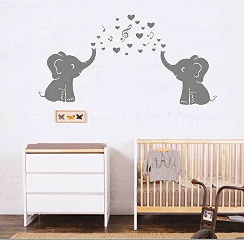 Two Elephant Family Wall Decal With Love Hearts Music Quote Art Baby or Nursery Wall Decor Kids Room Wall Stickers (Grey) (Baby Nursery Wall Art)